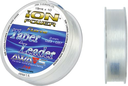 ION POWER- FLUORINE TAPER LEAD. 15mt x 10 leaders 0,26mm to 0,57mm