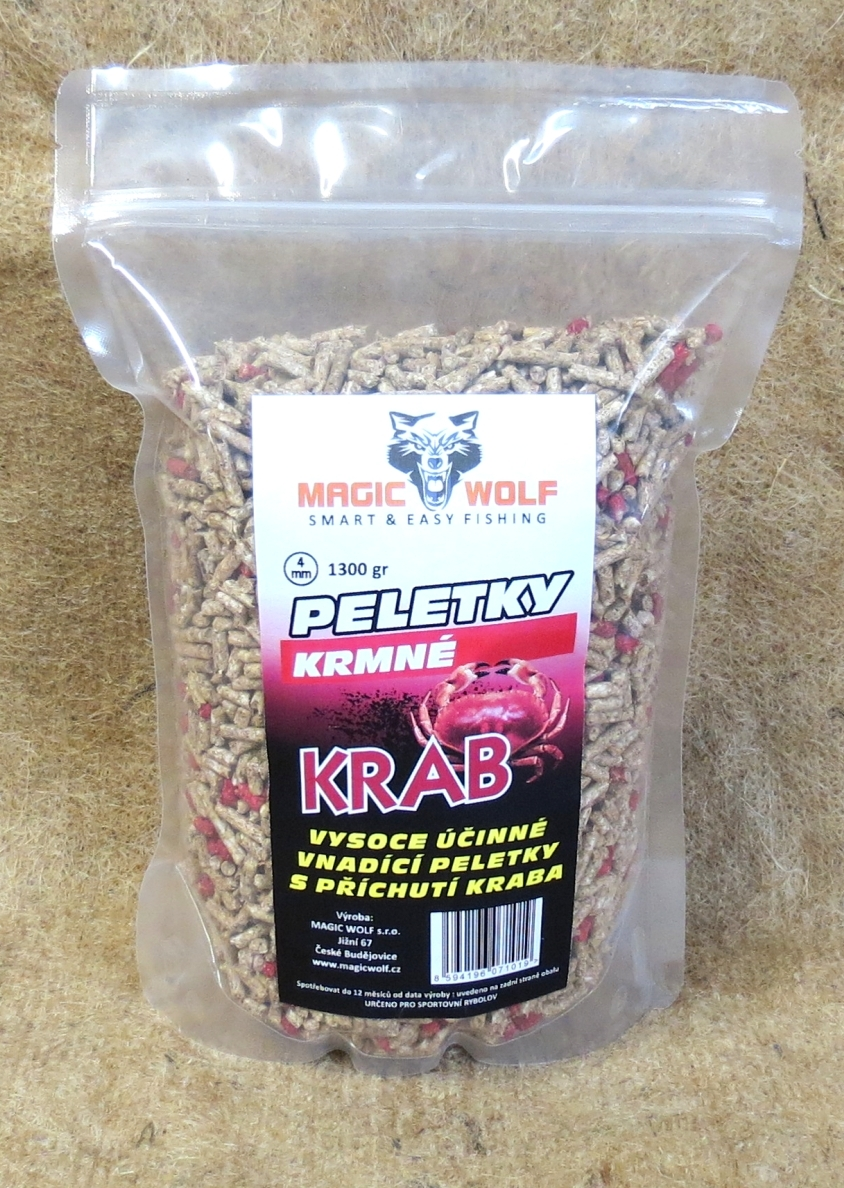 MAGIC WOLF - KRMNÉ PELETKY 4mm 1300 gr - KRAB